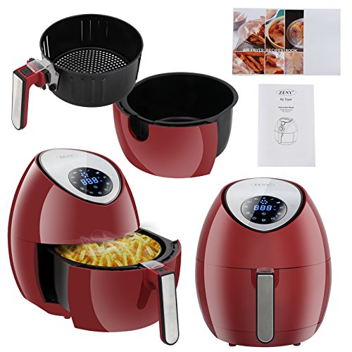 ZENY 3.7 Quarts 7-in-1 Electric Air Fryer Touch Screen Control Programmable, 7 Cooking Presets for Healthy Oil Free Cooking, w/Recipe Book and Dishwasher Safe Parts (Burgundy Red) by ZENY (Image #5)