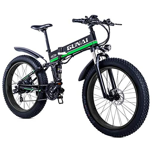 GUNAI 26 Pouces Fat Tire Vélo Électrique 1000 W Pliable Neige E-vélo 48V 12Ah Batterie Au Lithium Shimano 21 Vélo De Montagne avec Frein À Disque