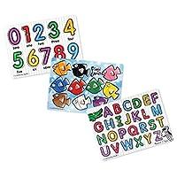 Melissa & Doug Classic Peg de madera, Alfabeto y números internos, y Mezcla y combinación de colores de pescado, paquete de 3
