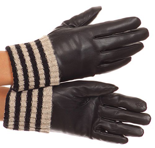 Leather Glove Striped (Sakkas CMZ1523 - Oda Warm Striped Wool Cuff Winter Touch Screen Wrist Length Gloves - Black - Large)
