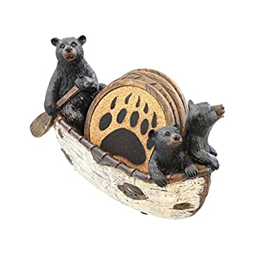 3 Black Bears Canoeing Coaster Set - 4 Coasters Rustic Cabin Canoe Cub Decor