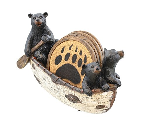 LL Home 3 Black Bears Canoeing Coaster Set - 4 Coasters Rustic Cabin Canoe Cub Decor -