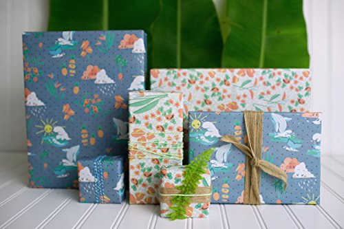 Happy Hawaii/ Kawaii Waves, Whales, Sunshine & Rain Clouds Designer Gift Wrap (6 Sheet Value Pack) - Reversible - Eco-friendly Wrapping Paper By Wrappily (Days Double Sided Paper)
