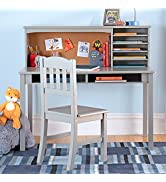 Guidecraft Children's Media Desk and Chair Set – Gray: Student's Study Computer Workstation and W...