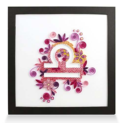 Zodiac Libra Handmade Personalized Gifts for Him & Her Frame Paper Quilling 3D Wall Art for Home Decor