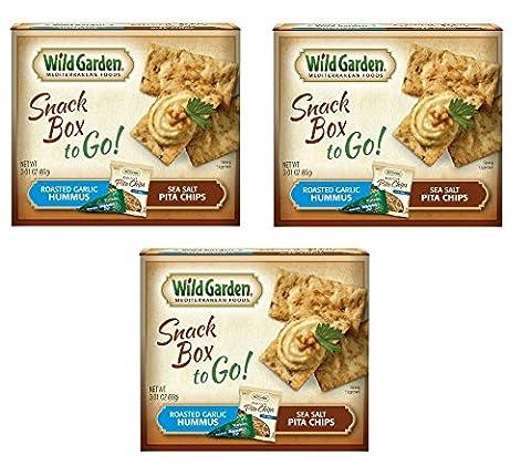 Wild Garden Snack Combo To Go, Hummus and Pita Chips-Roasted Garlic-3.01 Oz-3 Pack (Roasted Garlic Hummus)