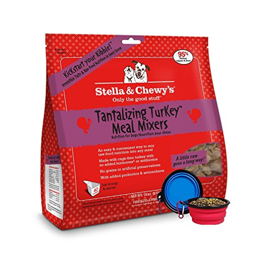 Stella & Chewy's Freeze Dried Dog Food,Snacks Super Meal Mixers 18-ounce Bag With Hot Spot Pets Food Bowl – Made in USA (Turkey)