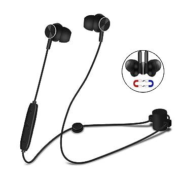 Alitoo Auriculares Bluetooth Magnéticos In Ear Cascos Deportivos Inálambrico con Micrófono, Hi-Fi Estéreo Cancelación de ruido Música Auricular Correr con ...