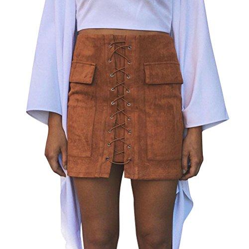 Oudan Jupe Femme Retro A-Line Mini Jupe Taille Haute Zipp Faux Cuir Mini Jupe Courte Marron Clair