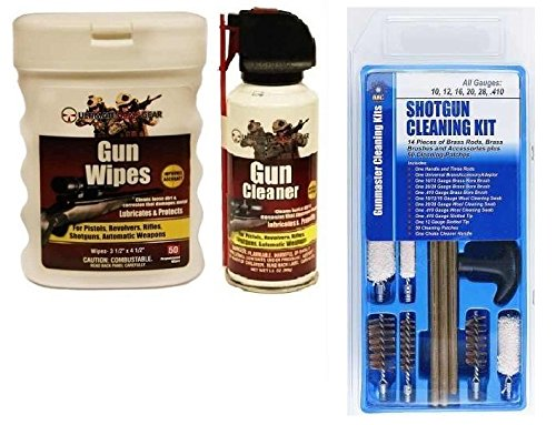 DAC Gunmaster Universal 10, 12, 16, 20, 28 & .410 GA Gauge Shotgun 14-Piece Gun Cleaning Kit + Ultimate Arms Gear Gunsmith & Armorer's Cleaning Bench Gun Mat + Cleaner Protector Jet Spray Can + Oil Lubricant Pop-Up Wipes
