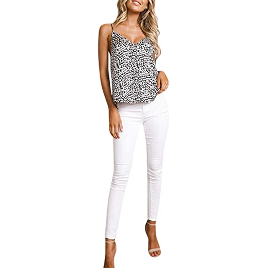 18a15599936 Amazon.com: Womens Sexy Leopard Print Lace Tank Tops, 2019 Ladies Fashion  Spaghetti Strap Sleeveless Vest: Clothing