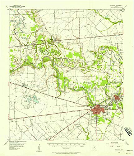 YellowMaps Richmond TX topo map, 1:62500 Scale, 15 X 15 Minute, Historical, 1955, Updated 1958, 20.9 x 18 in - Polypropylene