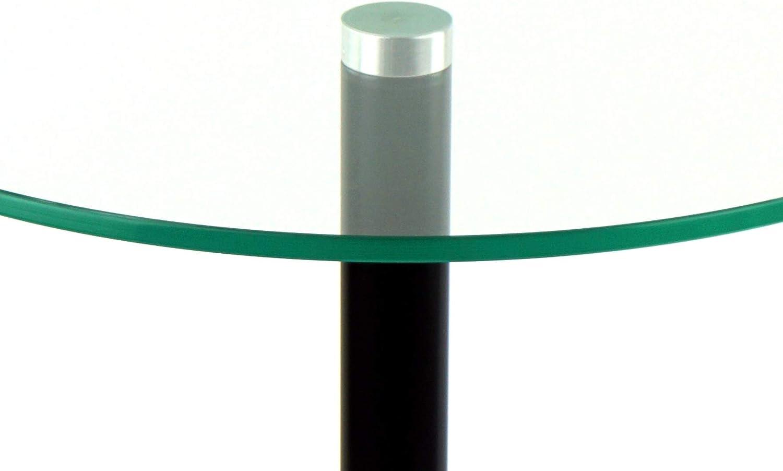 freeroom24 Flower Pillar Side Table Diameter 30 cm x Height 60 cm Glass Table Matte Black Round