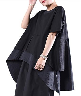 d181fd0292 Amazon.com  YESNO Women Casual Plus Size Peplum Tops Blouse Curved Dressy  Hemline Short Sleeve Crew Neck WSD  Clothing
