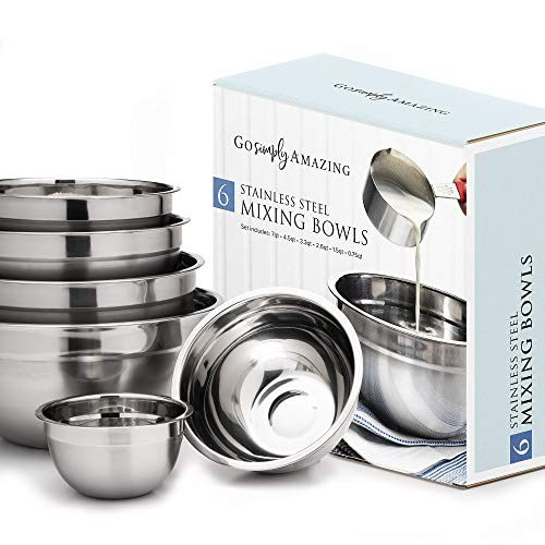 Stainless Steel Mixing Bowl - Nesting - Set of 6 by Go Simply Amazing. New Design Ensures Even Mixing