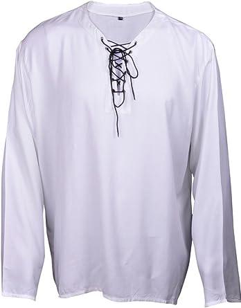 Casual Camiseta de Verano Renacimiento del Pirata Blanco y Negro Color de Traje Medieval Hombres Todos los tamaños: Amazon.es: Ropa y accesorios