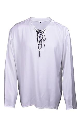 Bares Casual Summer Renaissance Pirate Shirt White Color Medieval Costume Men XXL Size