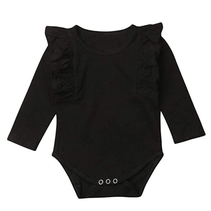 Amazon.com: Sunhusing Infant Baby Boys Girls Ruffled Long Sleeve Solid Color Jumpsuit Romper Clothes: Clothing