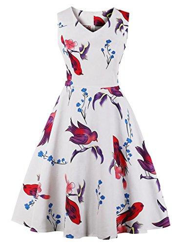 VERNASSA 1950s Vestidos para Mujer, 50s Vestido Retro con Estilo del Oscilación de la Tarde de la Vendimia del Baile de Fin de Curso del Club del Coctel del Algodón del Estilo de Hepburn 1620-pájaro Blanco