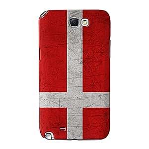 Bandera de la bandera de Dinamarca–Danish–Dannebrog Full Old Grunge de metal 3d Printed Case, funda carcasa para Samsung Galaxy Note 2de alta calidad de UltraFlags