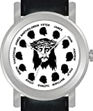 """Jesus Christ & the Twelve Apostles"" on the Dial of the Unisex Brushed Chrome Case with a Black Leather Strap"