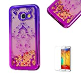 For Samsung Galaxy A5 2017 Case,Funyye Transparent Electroplate Plating Frame +New Creative Floating Water Liquid Small Love Hearts Design Color Change Soft TPU Shock Proof Case for Samsung Galaxy A5 (2017 Model)-Court Flower