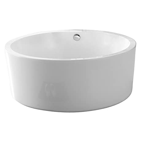 freestanding tub with faucet holes. Barclay ATRNDN58 WH Universal Acrylic 58 quot  Round Soaking Tub without Faucet Holes and Overflow