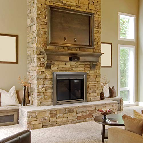 Image of Pleasant Hearth CB-3302 Colby Fireplace Glass Door, Sunlight Nickel, Large