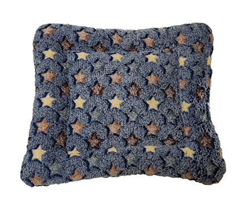 WOWOWMEOW Guinea-Pigs Warm Bed Mat Small Animals Cage Cozy Bed Blanket for Bunny, Hamster, Squirrel, Hedgehog, and Chinchilla (Stars-Navy)