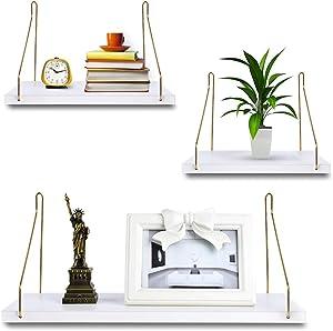 White Floating Shelves,Floating Shelves White for Wall,Floating Book Shelf Wall Mounted Organizer for Kitchen Bathroom Living Room Bedroom Office Storage Shelves Display Racks Home Decor Set of 3