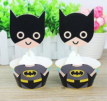 Amazon.com: Juego de 12 adornos para cupcakes de Batman con ...