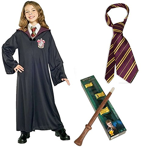 [Harry Potter's Hermione Child Costume with Gryffindor Robe, Wand and Tie - Large] (Harry Potter Halloween Costumes Hermione)
