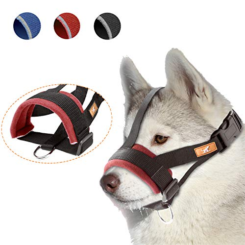 wintchuk Soft Dog Muzzle for Small, Medium and Large Dogs,Anti Biting, Chewing,Adjustable Neck and Head Strap,Breathable(XXL,Red)