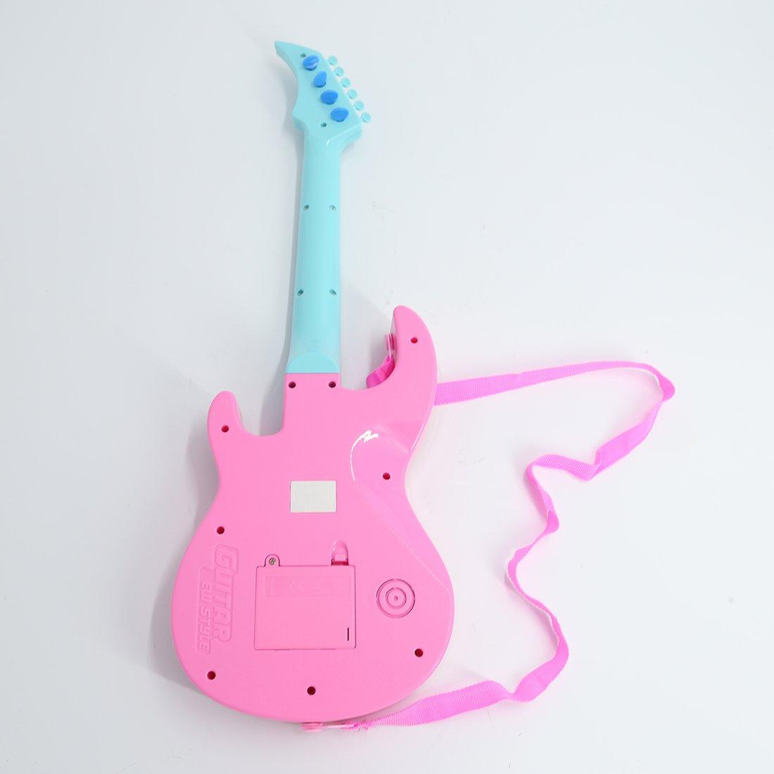 LVPY Kindergitarre 53 cm 4-Saitige Mini-Gitarre aus Kunststoff Instrument Simulation Gitarre Musikinstrument f/ür Kinder ab 3 Jahre Rot