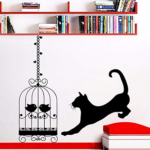 Pbldb 57X57Cm Running Cat Silhouette Wall Decal with Birdcage Pattern Home Stickers Waterproof Decoration Art DIY -