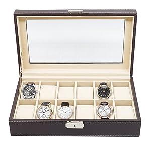 12 Piece Chocolate Brown Leatherette Men's Watch Display Organizer Storage Case for Watches