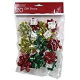 Christmas Gift Bows - Gold, Red and Green - Pack of 20