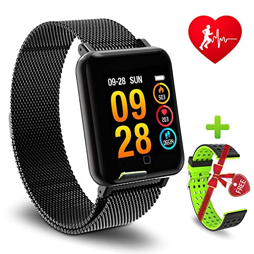 YOCUBY Color Screen Smart Bracelet, Activity Fitness Tracker Wrist Band with Weather Forecast,Sleep Heart Rate Monitor,IP67 Waterproof Pedometer Watch for iOS,Android(Steel Strap)[Buy 1 GET 2 Straps]