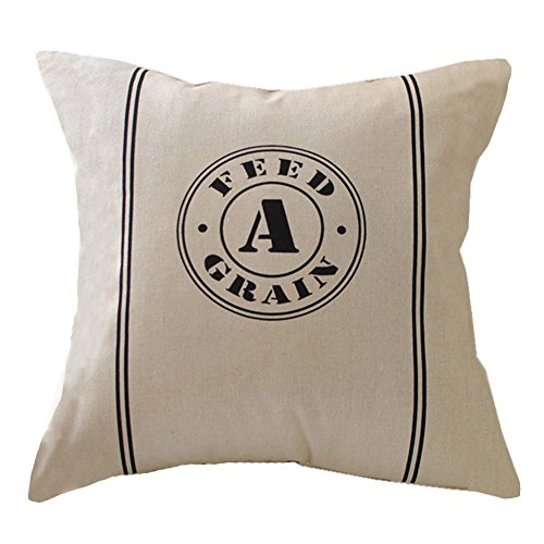 Vintage Grain Sack - Easternproject Vintage Throw Pillow Case Burlap Feed Sack Cotton Linen Square Cushion Cover for Farmhouse Office 18x18 Inches (Feed Grain)