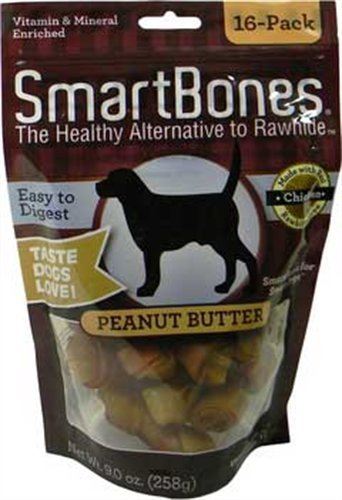 SmartBones Peanut Butter Dog Chew, Mini, 16-Pack, My Pet Supplies