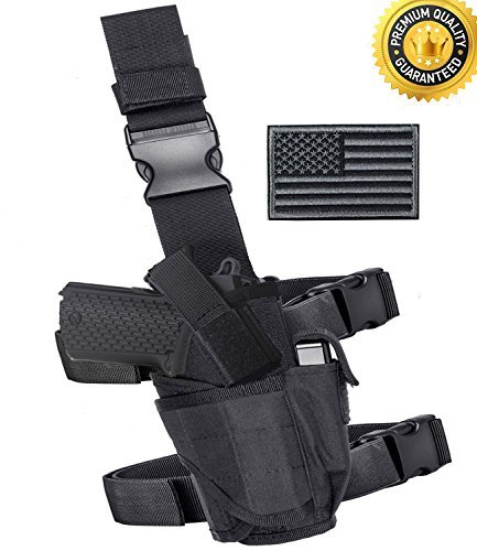 Black Airsoft Gun Holster (Carlebben Molle Drop Leg Holster Adjustable Right Handed Tactical Thigh Pistol Gun Holster (Black))