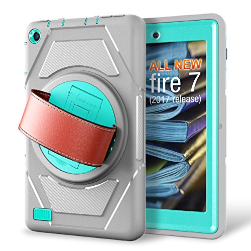 Integrated Hand Grip (eSamcore All-New Amazon Fire 7 Tablet Case,[Built-in Screen Protector] [Hand Strap] [Kickstand] Rugged Protection Case for Kindle Fire 7 2017 Release [Grey/Light Blue])