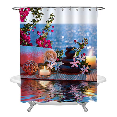 MitoVilla Spa Bath Treatment in Nature for Aromatherapy and Relaxation Decorative Shower Curtain Set, Aromatic Candles and Black Massage Stones and Tiare Flowers on Water, 72 x 72, Pink Blue