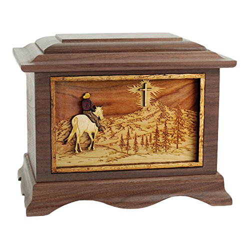 Wood Cremation Urn - Walnut Horse and Rider on Mountain