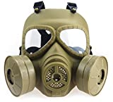 Myheartgoon Airsoft Paintbal Dummy Gas Mask Fan for Cosplay Protection Zombie Soldiers Halloween Masquerade Full Face Skull Mask Anti - Fog Ventilation Equipment (TAN)