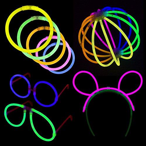 Lumistick Glow Sticks Party Pack: 8 Bracelets w/ Glasses, Bunny Ears, Lanterns