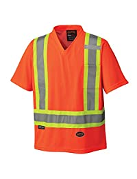 Pioneer V1050650-M High Visibility Work Safety T-Shirt, Micro Mesh, Orange, M