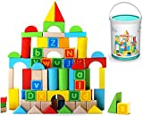 Alphabet Wooden Building Blocks Set | Brightly Colored Educational 80 pc Stacking Block Set for Toddlers & Kids Age 2, 3 & 4+ | Made from Durable Beech & Juniper Wood