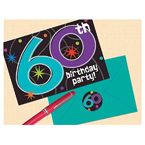 Party 8 Invitations Piece (60th Birthday Party Invitations, 8 Pieces, Made from Paper, 4 1/4