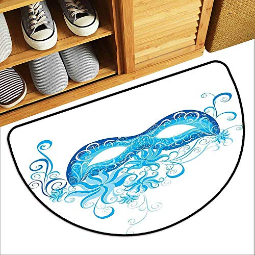 Masquerade Printed Door mat Venetian Style Mask Majestic Impersonating Enjoying Halloween Night Theme Mildew Proof W23 x L15 Blue and Sky Blue -